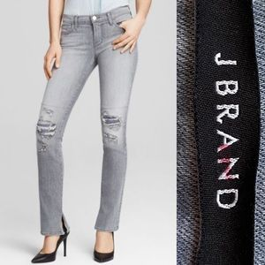 J Brand Gray Close Cut Mid Rise Rail Jeans Size 26